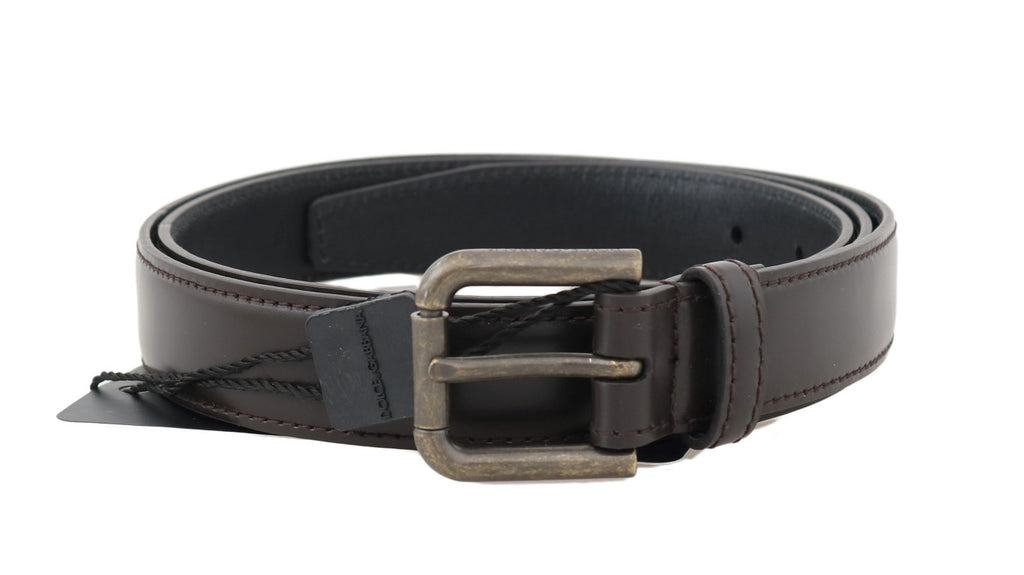 Dolce & Gabbana-Brown Leather Gold Brushed Buckle Belt-Luxuryce