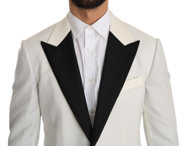 Dolce & Gabbana-White Black Wool Jacket Blazer-Luxuryce