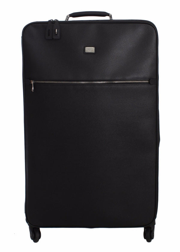 Dolce & Gabbana-Luggage Bag Black Leather Travel Suitcase Trolley-Luxuryce