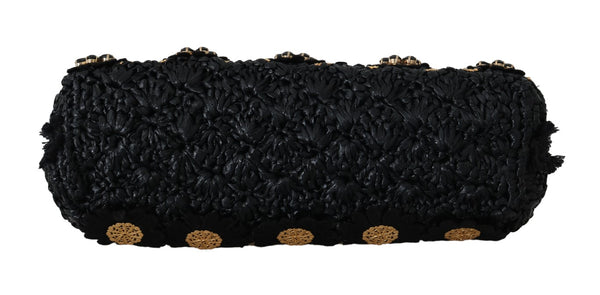 Dolce & Gabbana-VANDA Black Crystal Tassel Gold Charms Party Bag-Luxuryce