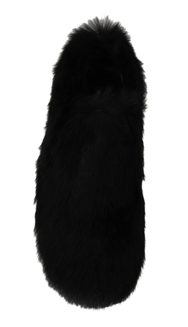 Dolce & Gabbana-Black Lapin Fur Slippers Loafers-Luxuryce