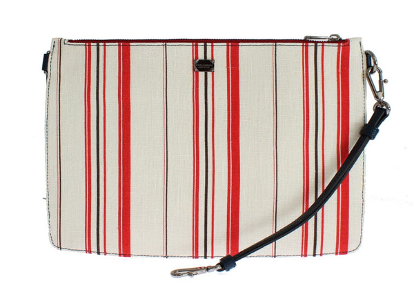 Dolce & Gabbana-White Red Striped Linen Shoulder Messenger Bag-Luxuryce