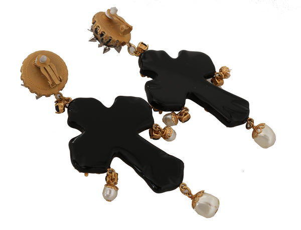Dolce & Gabbana-Gold Crystal SICILY Clip On Dangling Cross Earrings-Luxuryce