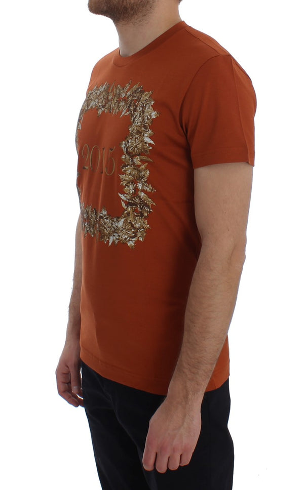 Dolce & Gabbana-Crewneck 2015 Motive Print Orange Cotton T-shirt-Luxuryce