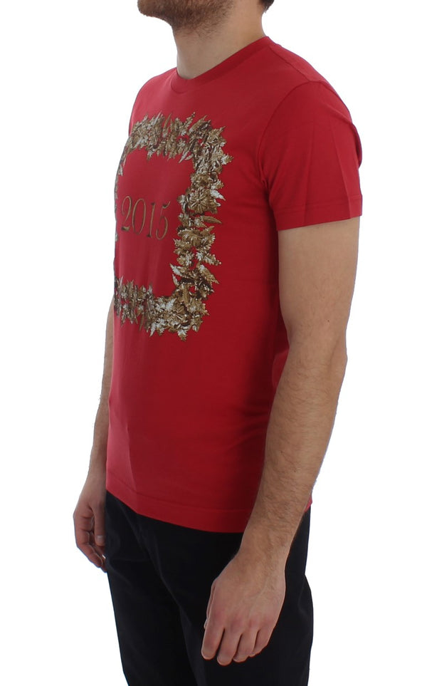 Dolce & Gabbana-Crewneck 2015 Motive Print Red Cotton T-shirt-Luxuryce