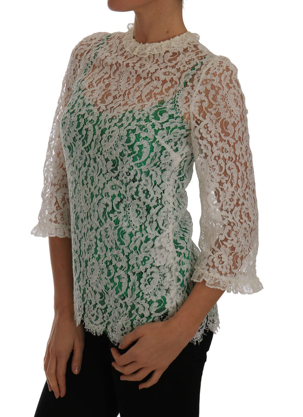 Dolce & Gabbana-White Floral Lace Blouse Taormina Top-Luxuryce