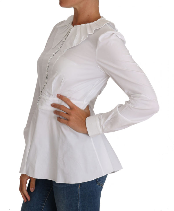 Dolce & Gabbana-White Fitted Cotton Blouse Stretch Shirt-Luxuryce