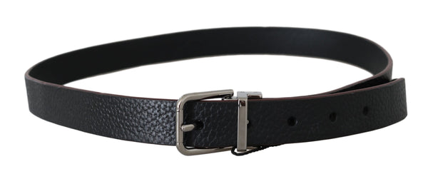 Dolce & Gabbana-Belt Black Leather Patterned Silver Buckle-Luxuryce