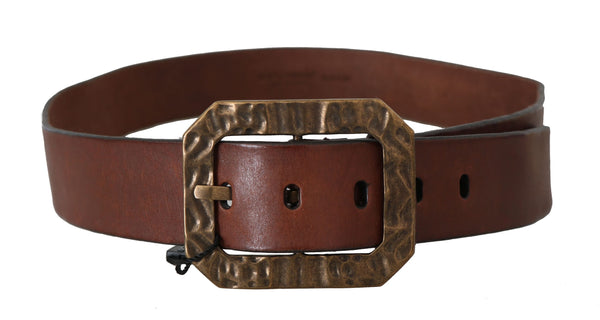 Dolce & Gabbana-Brown Leather Brushed Gold Belt-Luxuryce