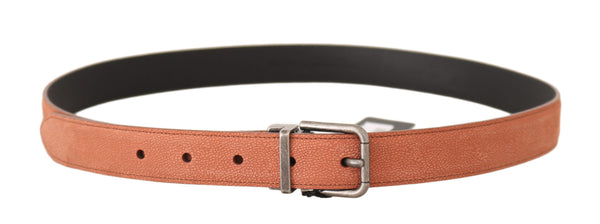 Dolce & Gabbana-Orange Leather Logo Brushed Buckle Belt-Luxuryce
