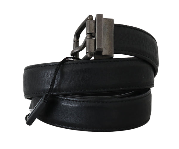 Dolce & Gabbana-Black Leather Brushed Metal Buckle Belt-Luxuryce