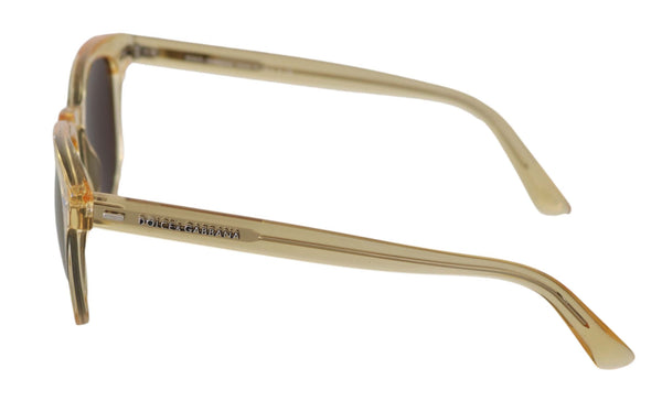 Dolce & Gabbana-Gold Yellow Oval DG4254 Mirrored Lenses Sunglasses-Luxuryce