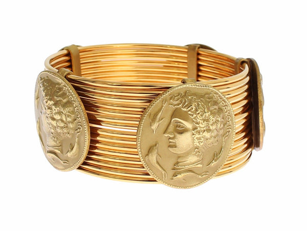 Dolce & Gabbana-MONETE Gold Brass SICILY Coin Wide Bracelet-Luxuryce