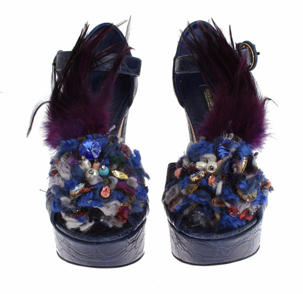 Dolce & Gabbana-Blue Caiman Crocodile Leather Crystal Shoes-Luxuryce