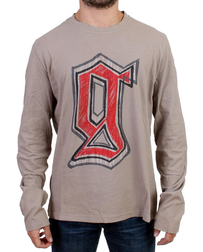 Galliano-Gray Crewneck Long Sleeve T-Shirt-Luxuryce