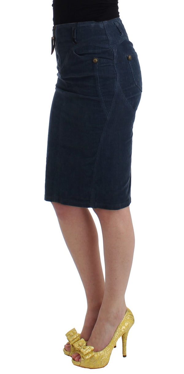 Cavalli-Blue corduroy pencil skirt-Luxuryce