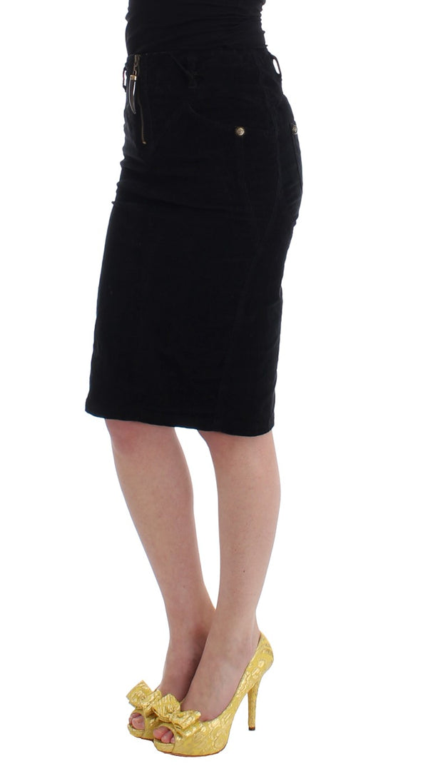 Cavalli-Black Corduroy Pencil Skirt-Luxuryce