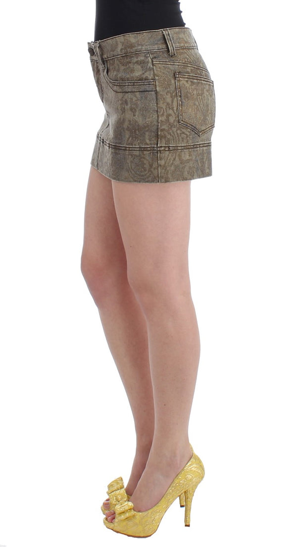 Cavalli-Brown cotton mini skirt-Luxuryce