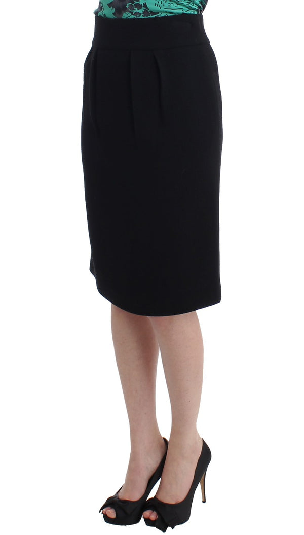 Cavalli-Black wool pencil skirt-Luxuryce
