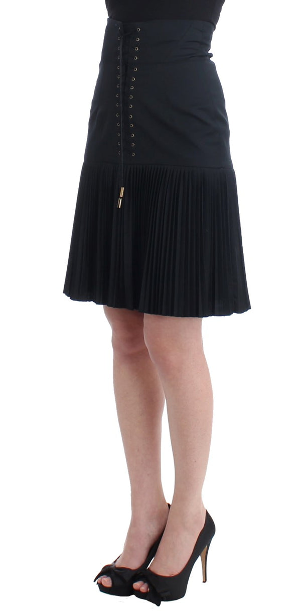 Cavalli-Black Pleated Laced Skirt-Luxuryce