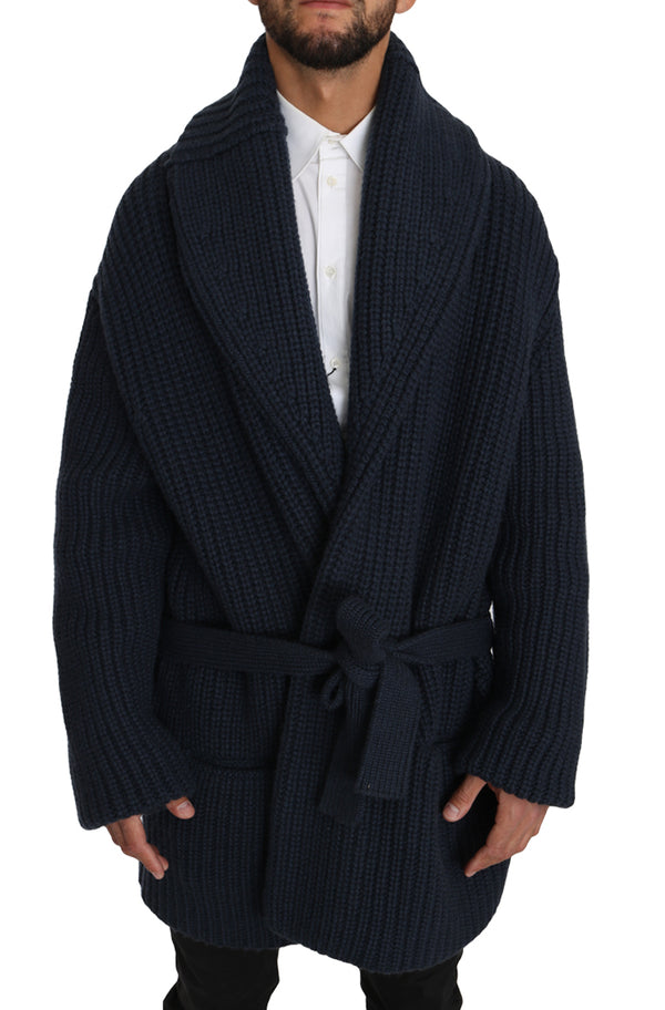 Dolce & Gabbana-Blue Knitted Cashmere Wrap Cardigan Sweater-Luxuryce