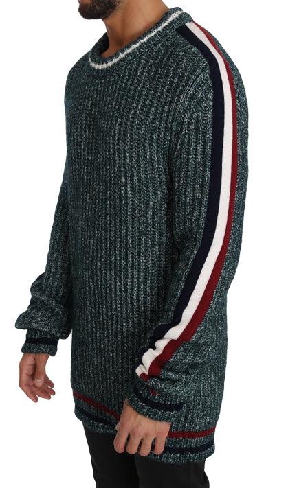 Dolce & Gabbana-Green Knit Wool Crewneck Pullover Sweater-Luxuryce
