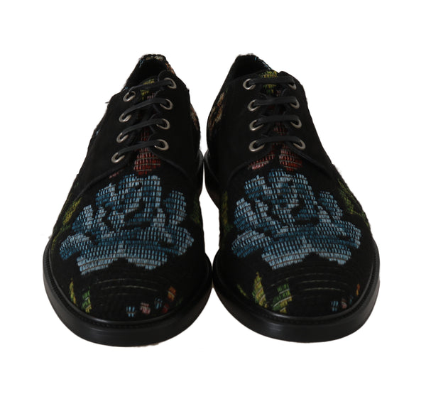 Dolce & Gabbana-Black Floral Brocade Derby Laceups Shoes-Luxuryce