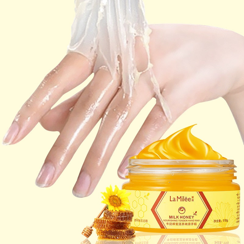 LAMILEE Milk Honey Hand Mask Hand Wax Moisturizing Whitening Skin Care Exfoliating Calluses Hand Film Hands Care Cream 110g