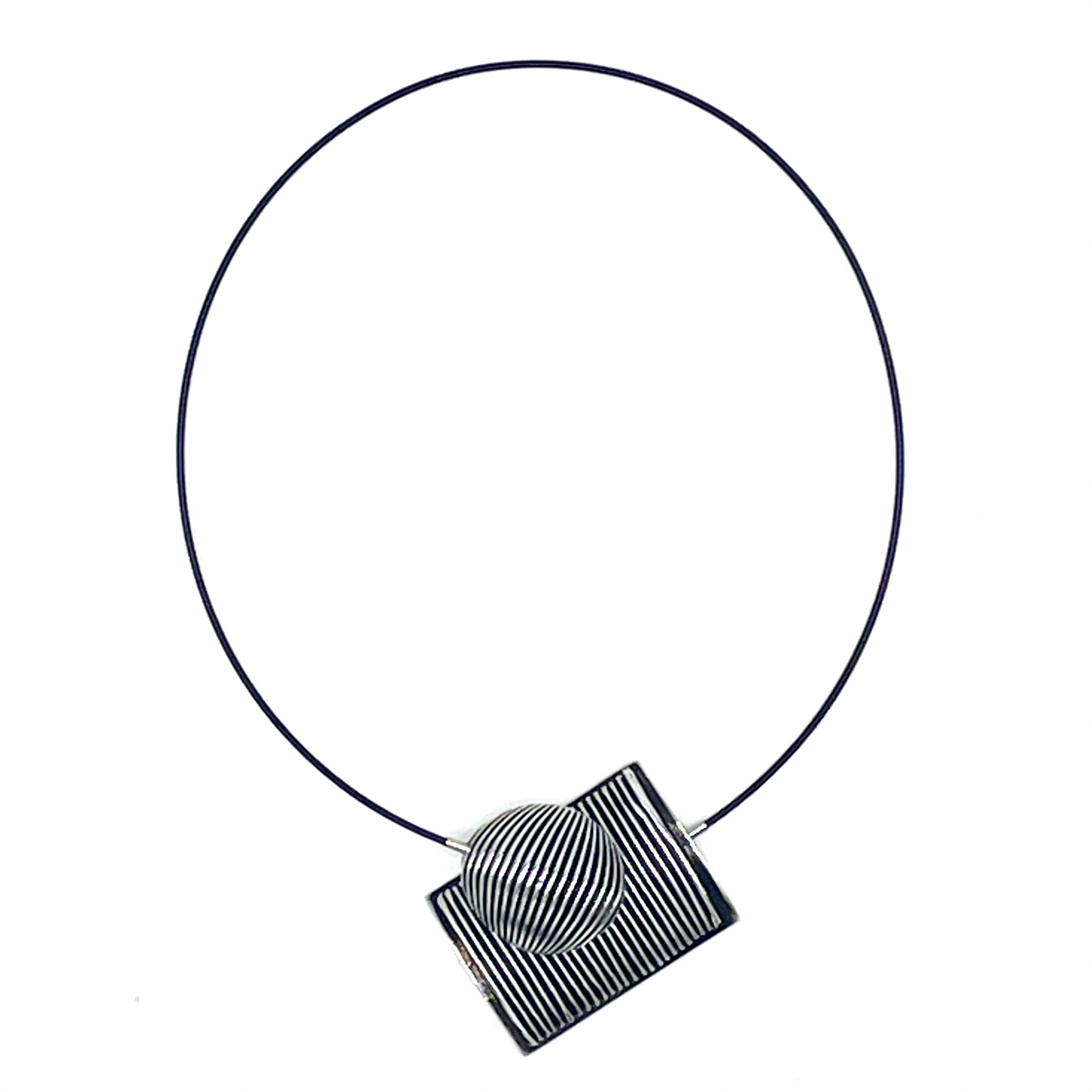 Striped Rectangle with Striped Circle on Black Wire Cord