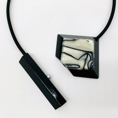 Black and White Resin on Thick Cord