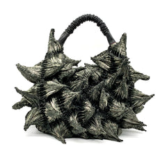 Shibori Fabric Large Spike Handbag