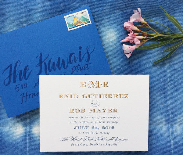 enid & rob's gold foil and ocean blue punta cana wedding invitations