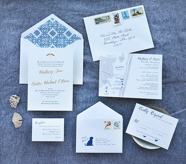 mallary + clint's blue east coastal letterpress and gold foil wedding invitations