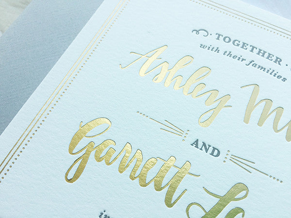 ashley & garrett's gold, gray & blush letterpressed wedding invitations