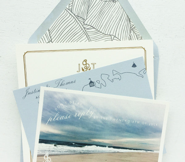 justine & thomas's gold and dusty blue nautical wedding invitations