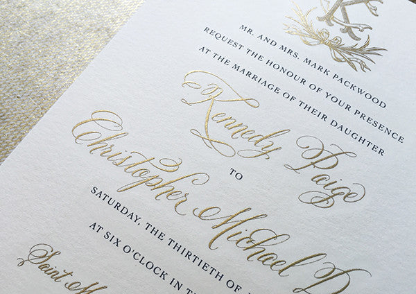 kennedy & christopher's classic gold engraved wedding invitations