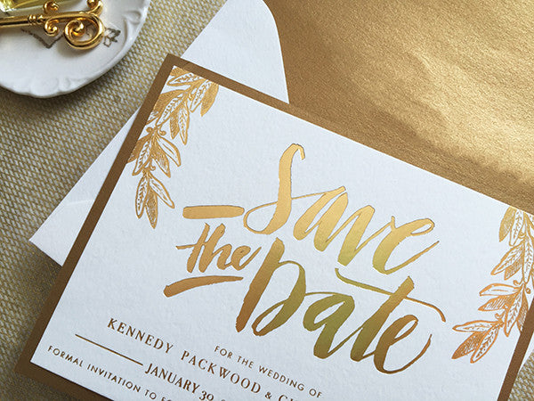 kennedy & christopher's hand-lettered gold foil save the dates
