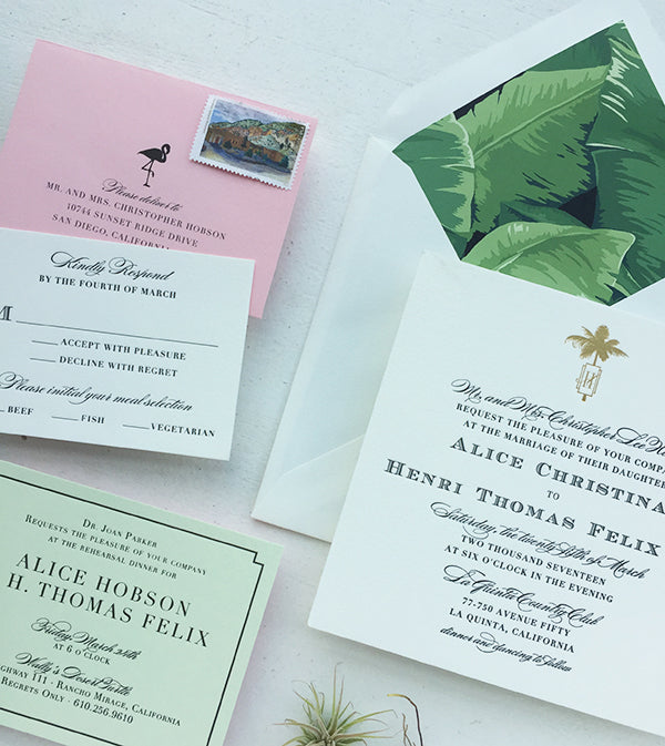 alice + henri's pink and green palm springs wedding invitations
