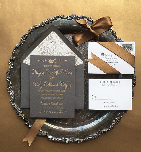 megan & cody's glamorous gray + gold wedding invitations