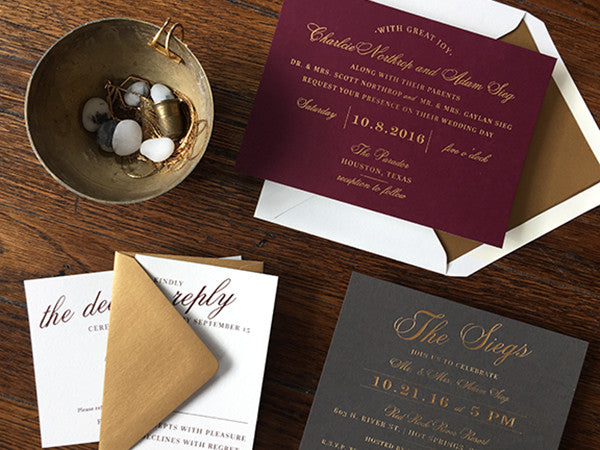 charlcie & adam's wine, gold & slate wedding invitations