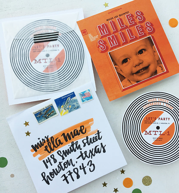 miles smiles 1st birthday party record album invitations