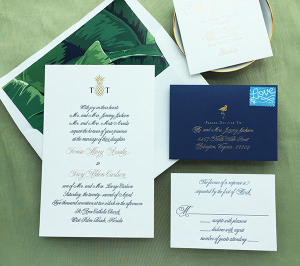 tonia & troy's navy and gold west palm beach wedding invites