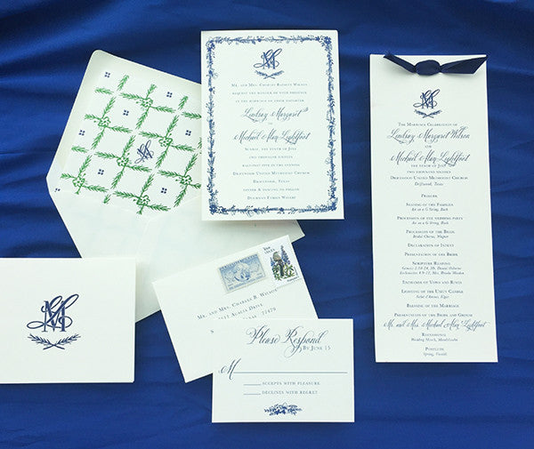 lindsay+ michael's navy illustrated texas wildflower wedding invitation