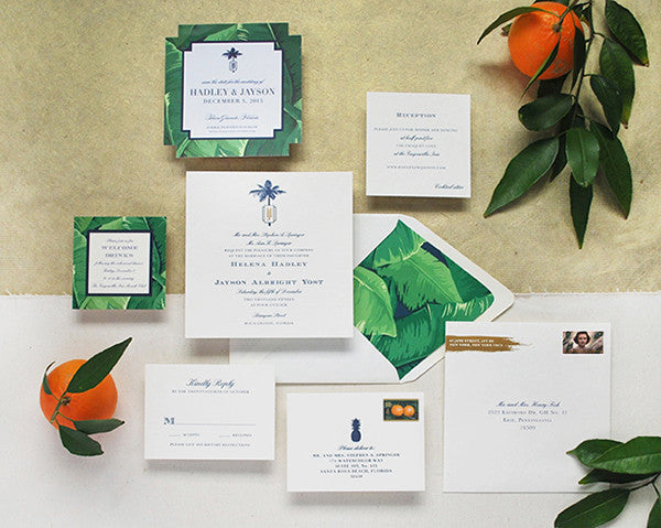 hadley & jayson's tropical-chic letterpress wedding inviations