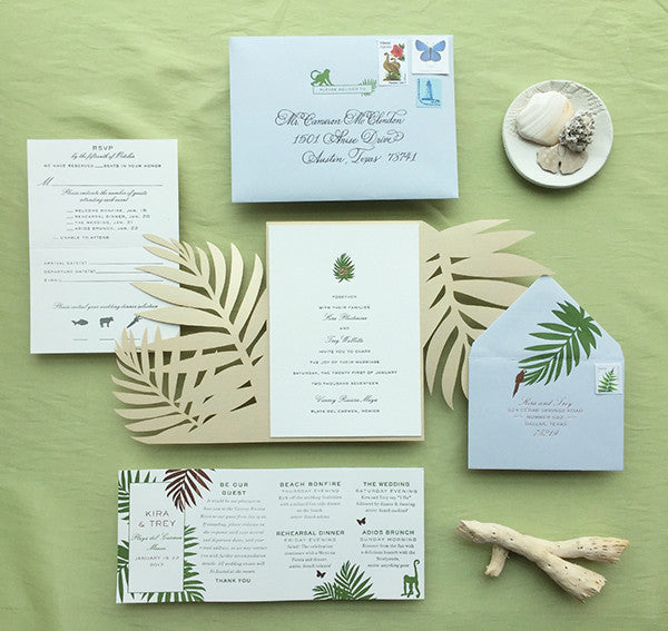 kira + trey's tropical letterpress and rose gold invitations