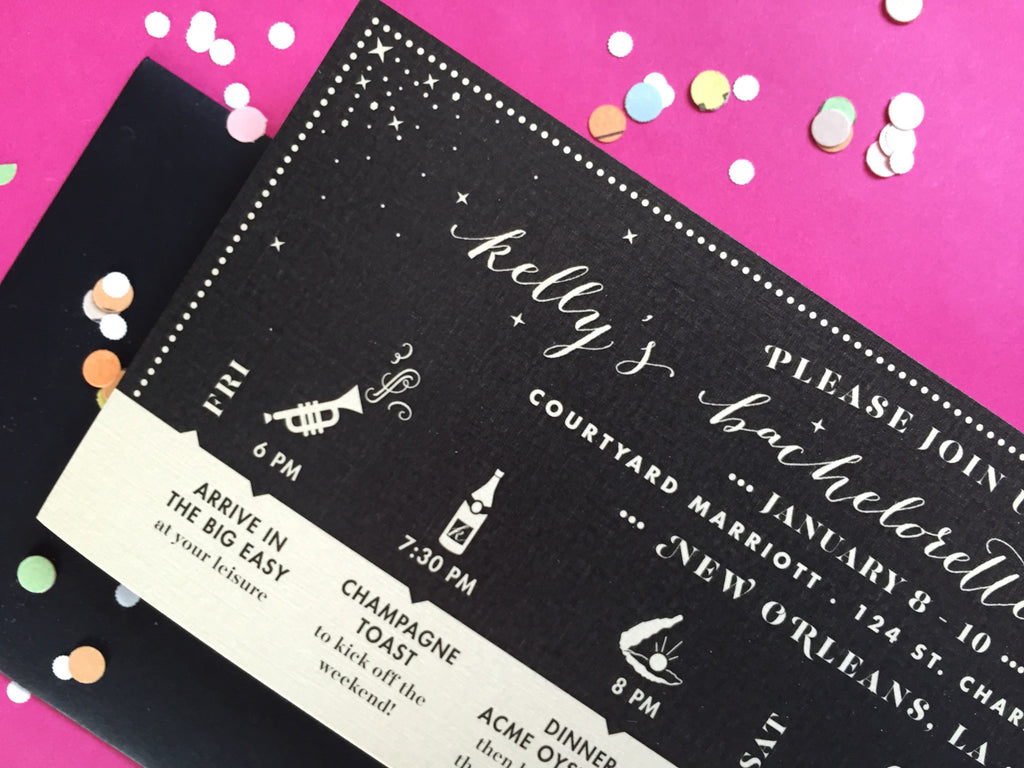kelly's new orleans bachelorette itinerary invitations