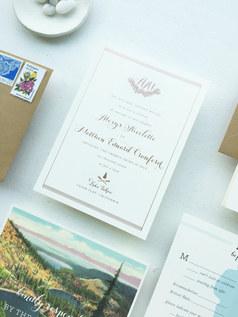 alexys & matt's rose gold lake tahoe wedding invitations