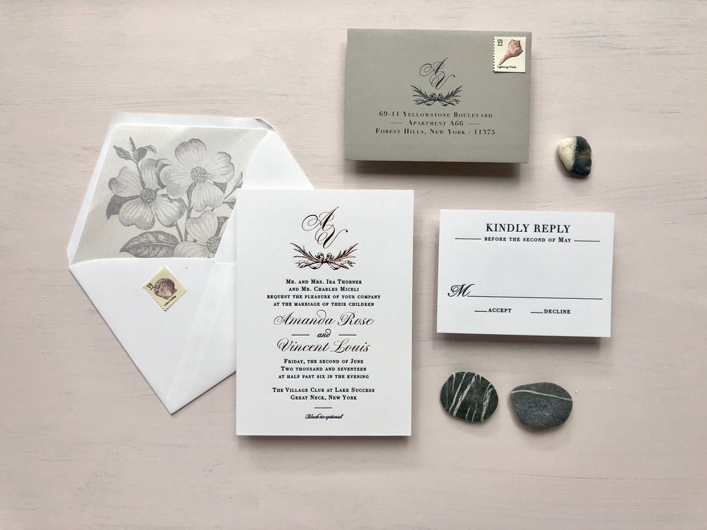 amanda & vincent's rose gold foil & gray letterpress wedding invitations