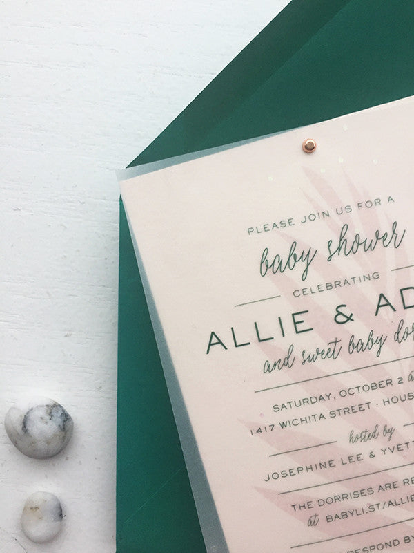 blush + emerald modern boho baby shower invitations