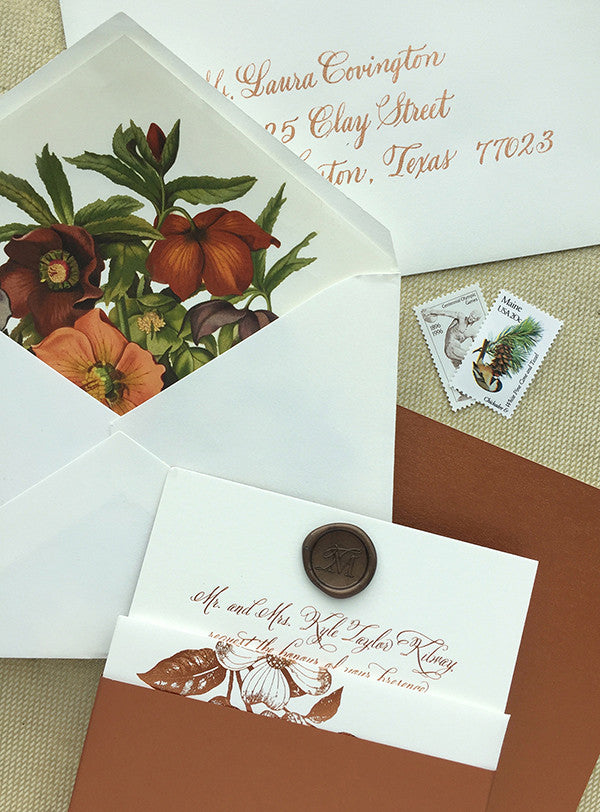 taylor + mark's copper and chocolate fall wedding invitation